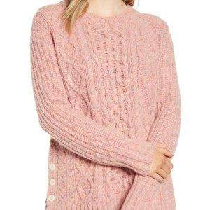 Alex Mill Button Side Cable Knit Wool Sweater NWOT